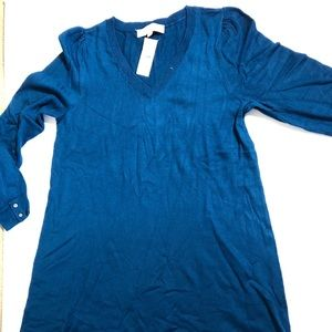 Loft blue sweater dress NWT
